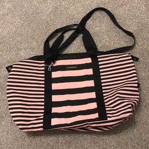 X LG Pink Striped Victoria Secret Weekender bag